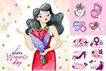 妇女节花朵人物插画