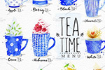 水彩茶饮元素