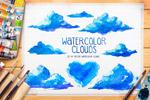 手绘水彩云朵