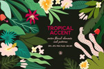 手绘绿色热带植物