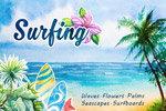 夏季冲浪水彩插图