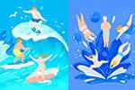 夏日游泳冲浪卡通插画