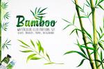 竹子水彩画矢量