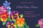 手绘水彩紫罗兰