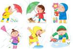 雨中男孩嬉水插画