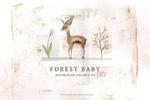 森林动物宝宝水彩
