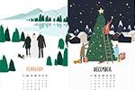 风景插画日历
