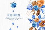 蓝色插画花卉