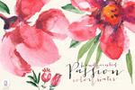 水彩红色花卉
