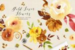金色手绘水彩花卉