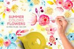 夏季彩色水彩花卉