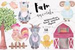 农场动物水彩插画