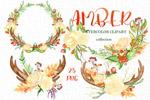 秋天水彩花卉花环