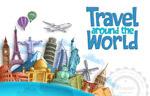 环游世界主题插画