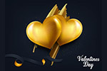 金色心形与玫瑰花