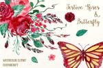 水彩玫瑰蝴蝶插画