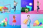 彩色购物促销海报2