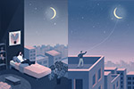 星空晚安系列插画