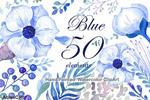 蓝色水彩手绘花朵