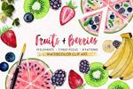 手绘水彩水果