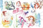 手绘美人鱼插画