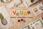 素食餐厅菜单插画