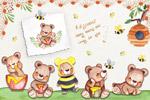 蜜蜂和熊水彩插画