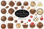 巧克力糖果甜品插画