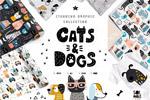 猫和狗卡通图形