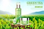 绿茶护肤品广告矢量