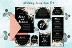 黑色花卉婚礼邀请函