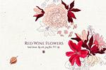 酒红色水彩花卉