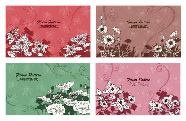 漂亮线描花朵植物矢量素材-1,植物,荷花,花朵,花纹,花卉,背景,