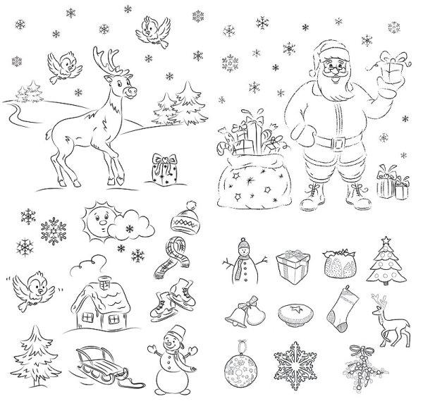 圣诞节拉雪橇简笔画大全 圣诞节小饰物简笔画 圣诞节小饰物简笔画