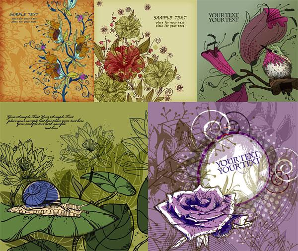 ,小鸟,蜗牛,玫瑰花,荷花,绿叶,时尚,手绘,线描,矢量素材,eps格式