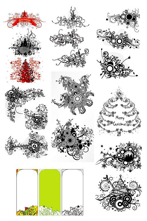 圣诞树黑白装饰画