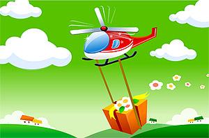 卡通直升机矢量素