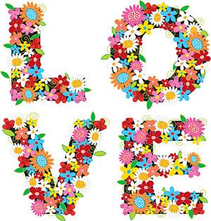 矢量图案所需点数: 0 点 关键词: 色彩斑斓的花卉组成的love矢量素材