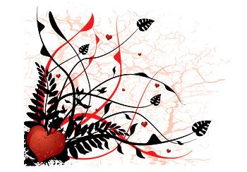 矢量心形与植物