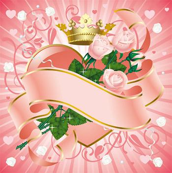 粉红色玫瑰花与丝_矢量花纹