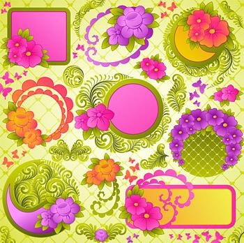 可爱花纹花边装饰矢量素材