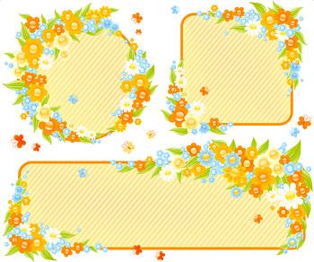 可爱小花朵装饰框矢量素材