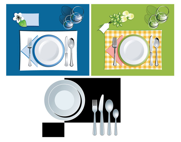eps格式,矢量素材,矢量餐具,碟子,刀叉,勺子,红酒杯,玻璃杯,花朵,餐巾