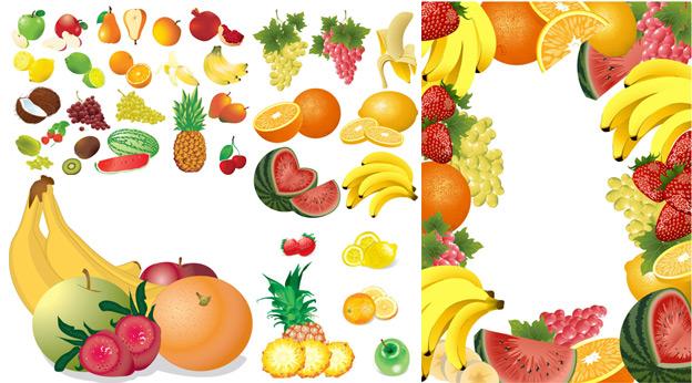 椰子,香蕉,荔枝,泥猴桃,杨桃,西瓜,菠萝,草莓,橙子,桔子,水果边框