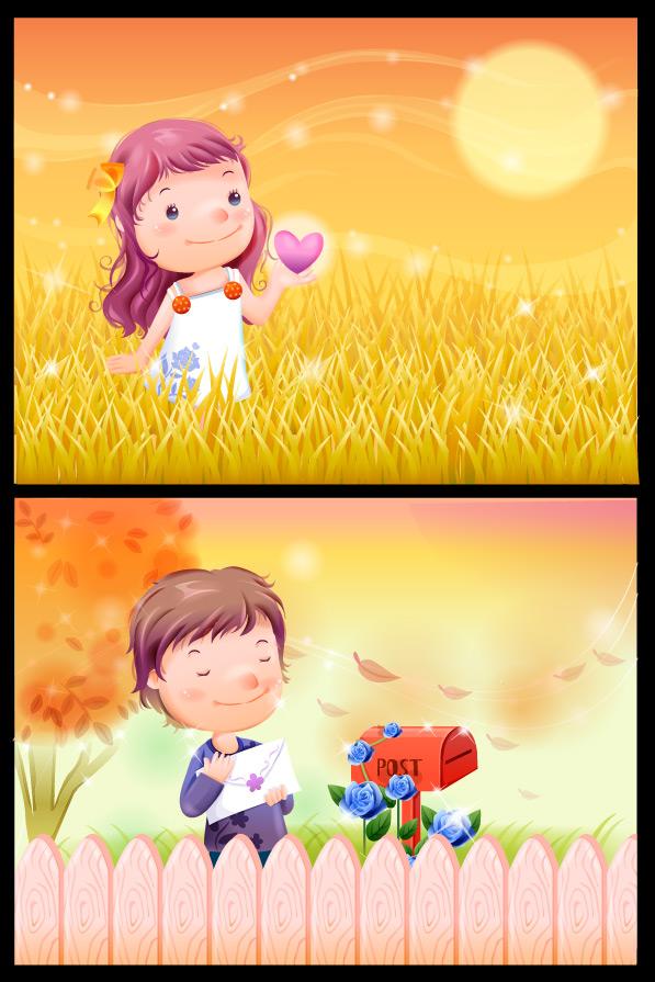 可爱卡通人物_矢量儿童幼儿