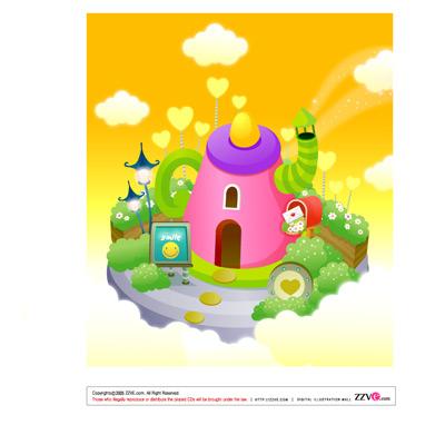 关键词: wonderland可爱的韩国卡通场景,卡通场,亮丽色彩,卡通小屋子