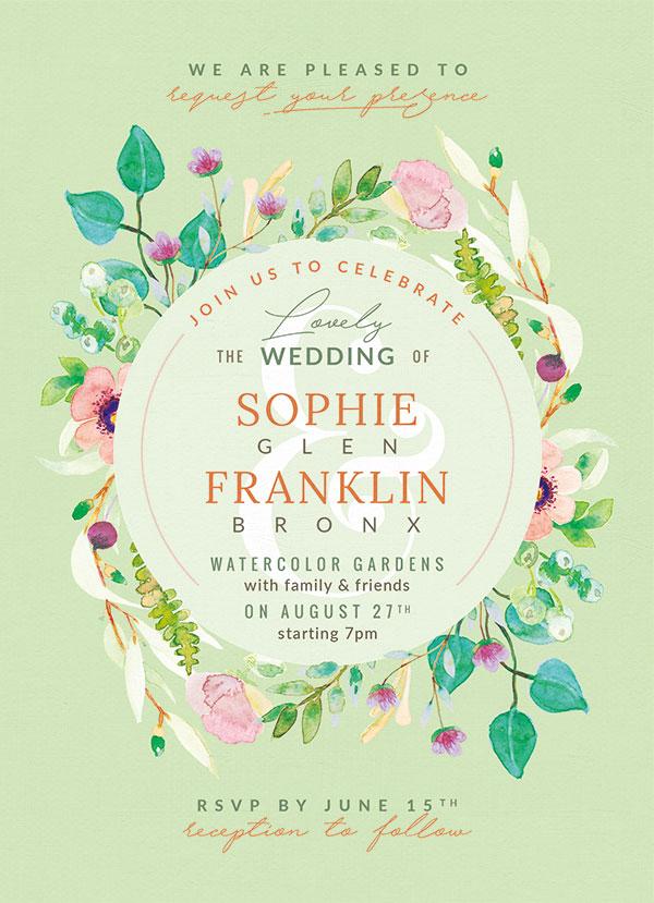 绿色婚礼邀请函,唯美手绘花卉,优雅水彩绘画,花卉装饰边框,1575x2175