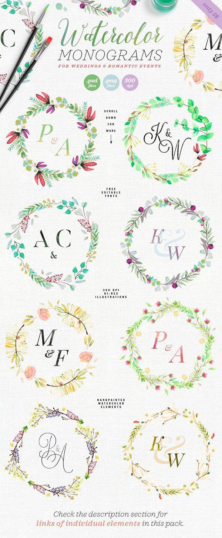 清新手绘花卉边框
