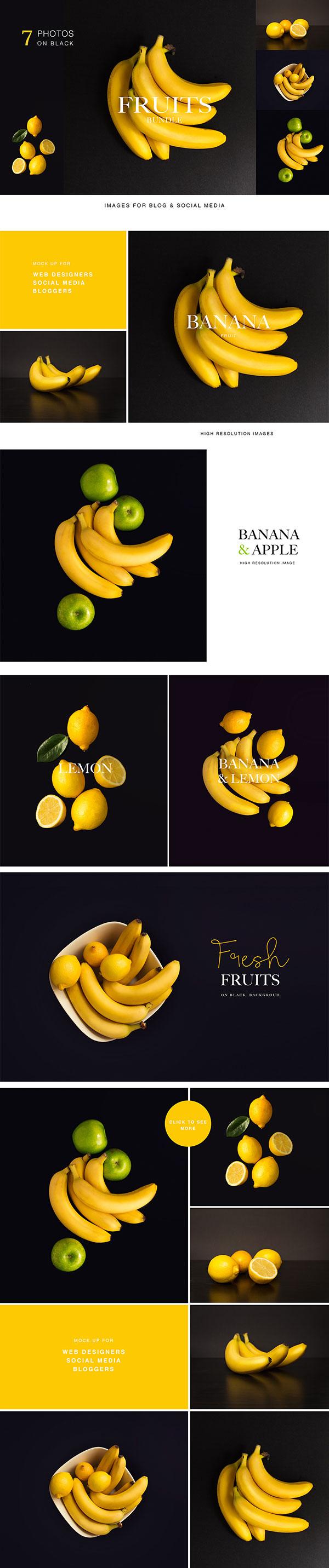黑色背景水果图片