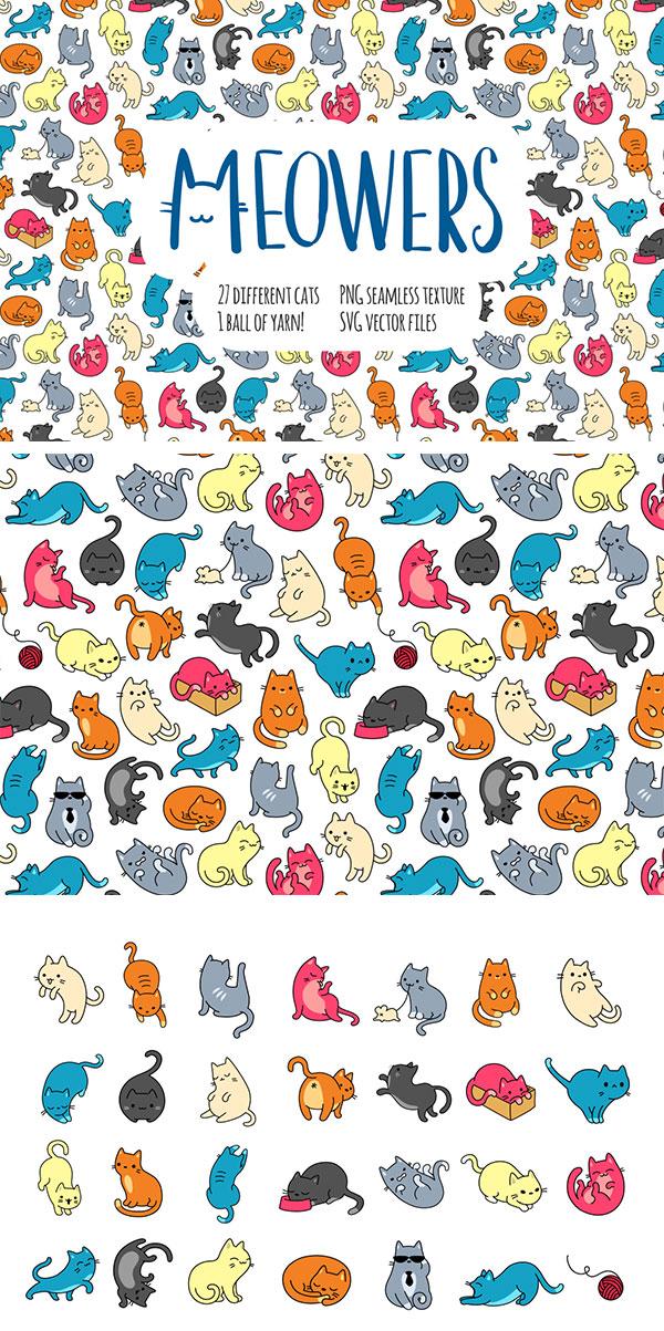关键词: 可爱猫咪图标和无缝拼接背景矢量素材,各种形态的猫咪,可爱猫